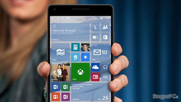 Apžiūrėjus Windows 10 Mobile platformą tapo aišku, kad ji nesuteikia prieigos prie itin svarbių mobiliųjų programėlių ekrano nuotrauka